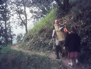 Kundi basket ride, Landour India 1950s
