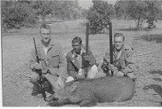Dad (on right) with Uncle Ralph and J.M. Singh (their language pundit) and a wild boar shot in Jhansi.