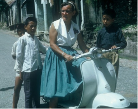 "Aunty Ruth on her Lambretta that Kishan let us ""borrow"" more often than she ever knew (until just now)."