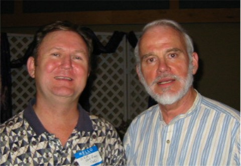 Bob Fleming (on right), at the WOSA (Woodstock Old Student's Association) reunion in 2002.