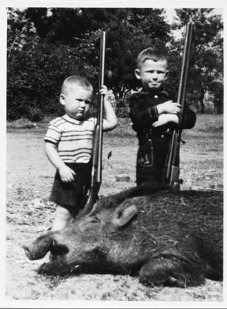 Gordy (on right) and I get our first wild boar (Jhansi, U.P., circa 1951)