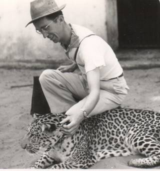 Gordon Taylor with a pet leopard.
