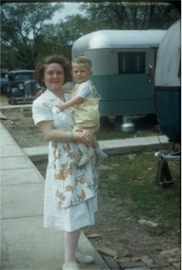 Mom with Gordy at the trailer park on the campus of Dallas Seminary where they lived in a 16' trailer.