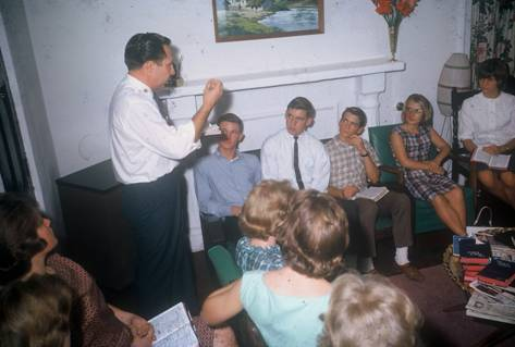 Bible Club was held every Sunday afternoon at Bothwell Bank. Seated (left to right): Gordy, Ken Waldock and Tim Larson, Gwynie Lewis just to Tim's left, and then Tempee Shelly.